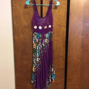 Dresses & Skirts - Purple floral crochet top summer beach dress
